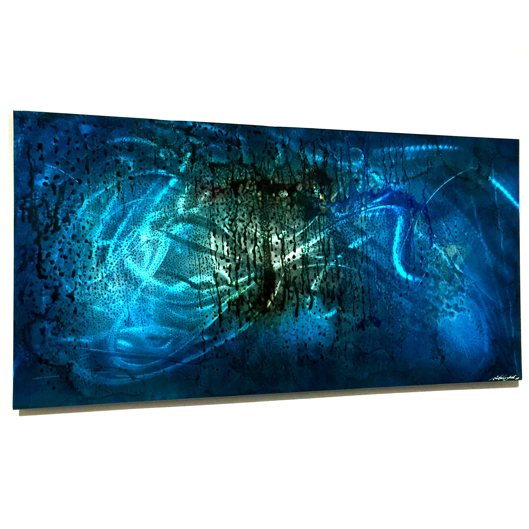 Blue Fury : Rich Blue Abstract Urban Metal Artwork