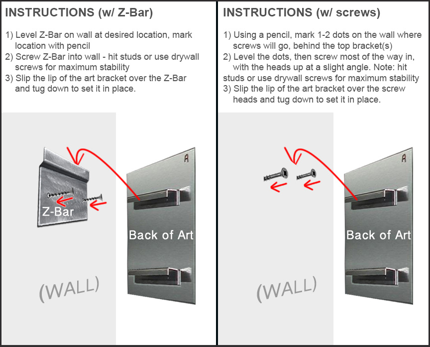 How To Hang A Picture On The Wall how to hang metal wall art | mounting instructions & diagram | mad