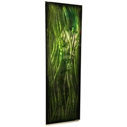 Evergreen Abstract : Tall, Narrow Green Contemporary Accent Art