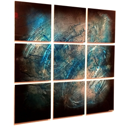 Whirlwind : Metallic Blue Contemporary Metal Art